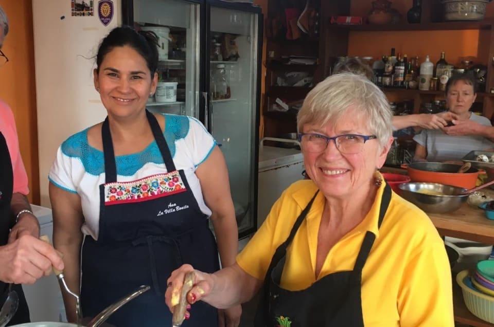 Chef Ana and Guests in La Villa Bonita Kitchen in Tepoztlan